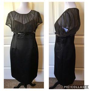 Tahari Silk Sheer Polkadot Bodycon Dress C-M20